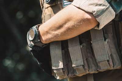 navy sea with wrist watch