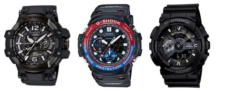 three g-shocks side-side