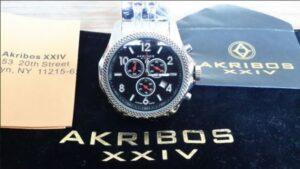 Akribos watch in marketing package