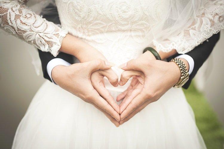 bride and groom wearing watch