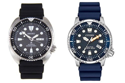 Citizen and seiko dive watches side by side