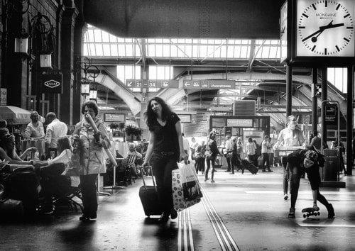 train station with Mondaine Clock