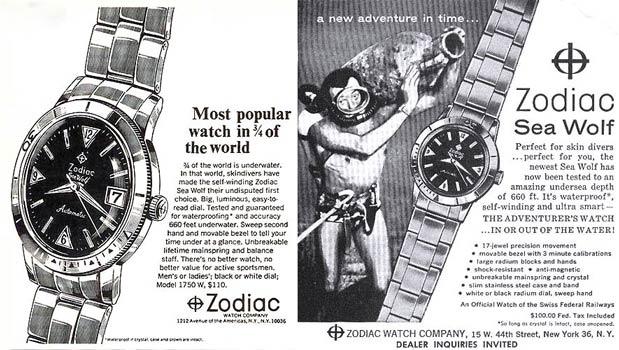 old zodiac watch advertisement