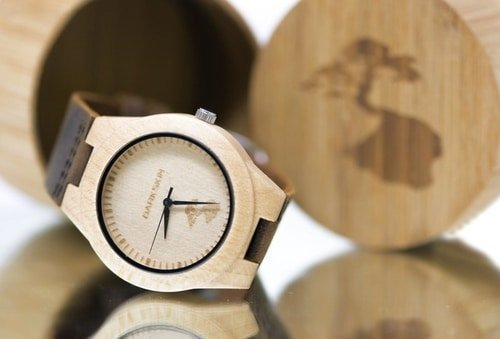 close up of wooden watch