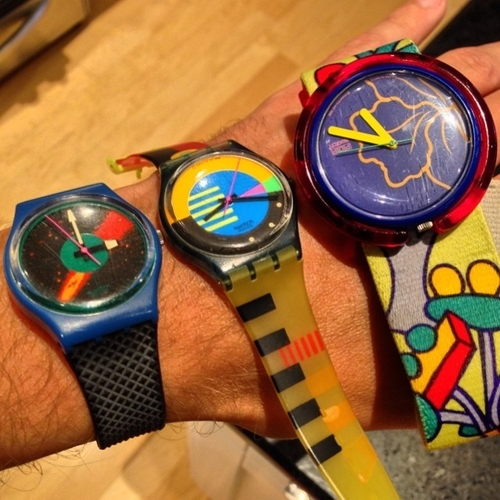 Colorful Swatch wristwatches from the 80s