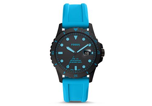 Fossil FB-01 Three-Hand Date Neon Blue Silicone (FS5682P)