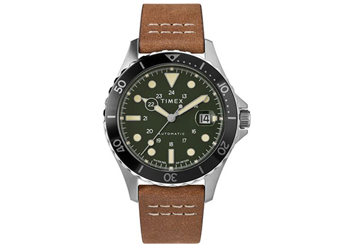 Timex Navi XL Automatic 41mm Leather Strap Watch