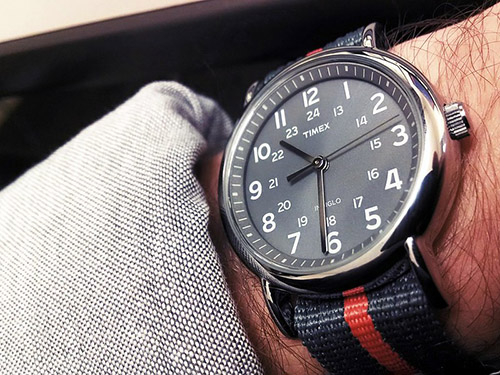 person wearing timex watch