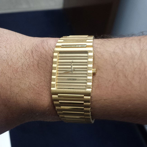 A person wearing Concord watch