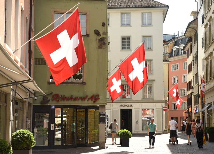 shopping street in Switzerland
