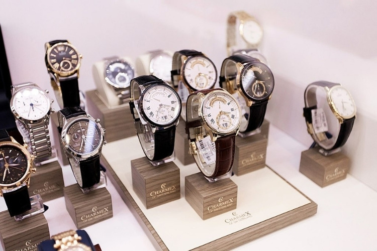 charmex brand watches in shop window