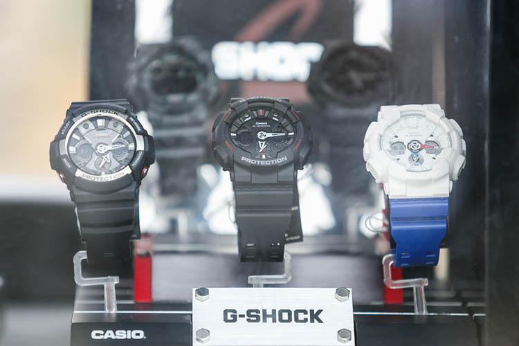 New waterproof Casio G-shock wrist watches in shop