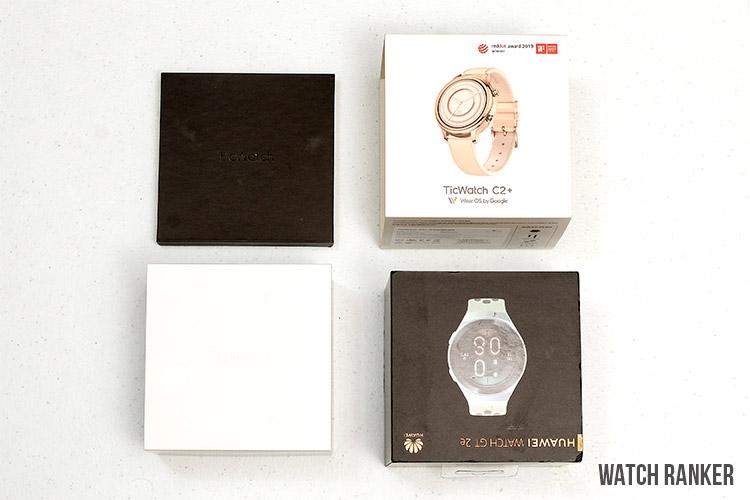 TicWatch C2+ vs Huawei Watch GT 2e Box