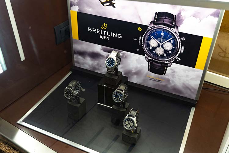 Breitling watches in shop window