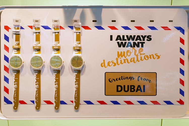Swatch watches in a store at Dubai International Airport