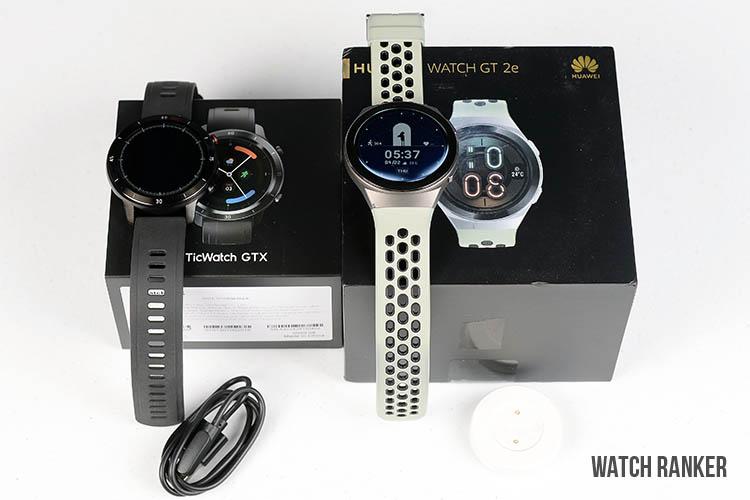 TicWatch GTX vs Huawei GT2 with box