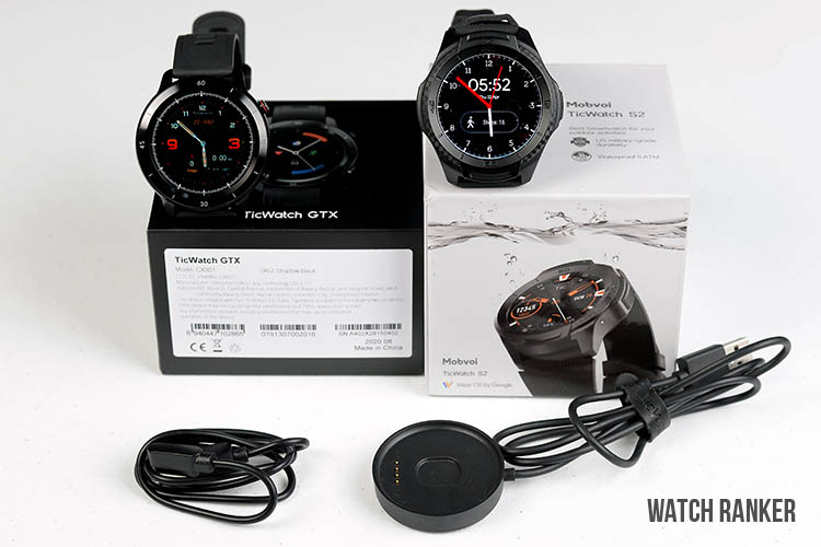 TicWatch GTX and S2 watch with box