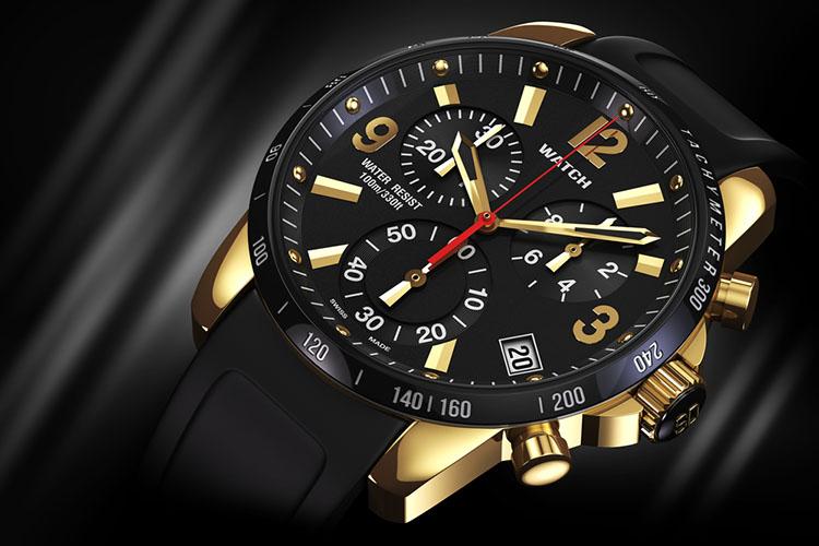 Mens swiss mechanical golden wrist watch