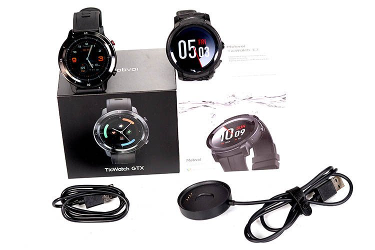TicWatch GTX and E2 Packing and accessories