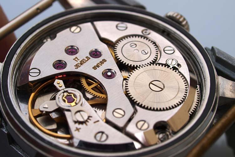 vintage mechanical watch movement macro detail