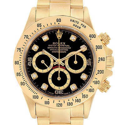 Rolex Daytona Yellow Gold Diamond Dial Chronograph Watch (16528)