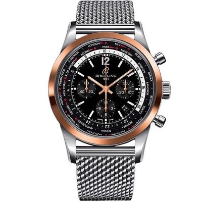 Breitling Men's UB0510U4-BC26-159A 'Transocean Unitime Pilot' Chronograph Stainless Steel Watch - Black