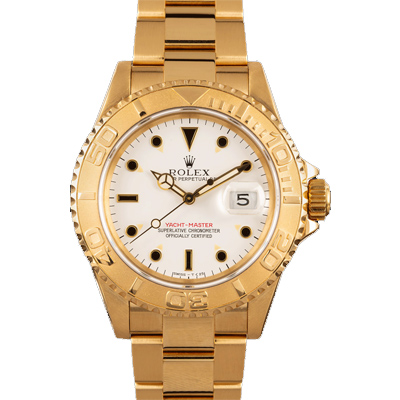 ACTUAL PHOTO ROLEX YACHTMASTER YELLOW GOLD 16628 WHITE DIAL